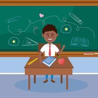 Männlicher Student des Afroamerikaners in der Uniform am Schreibtisch