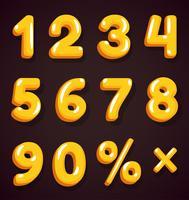 Gyllene tecknad nummer vektor