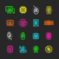 dator och enhet neon Ikonuppsättning