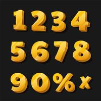 Gyllene siffror för rabatterade skyltar vektor