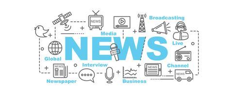 Nachrichtenbanner mit Linie Kunstikonen