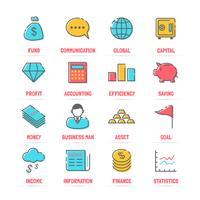 affärsvektor linje ikoner med platta färger vektor