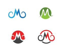 m brev logotyp affärsuppsättning