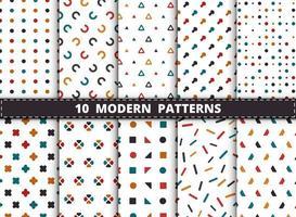 Uppsättning för modern geometrisk modell för färgrik stil vektor