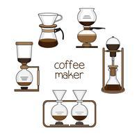 Uppsättning av kaffebryggare vektor