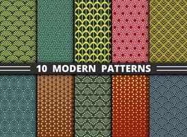 Modern geometrisk mönsterstil av färgglada bakgrundsuppsättningar vektor