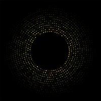 Abstrakt gyllene cirkulär ram med glittrande ljus på en modern svart bakgrund