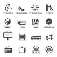 Symbole für Marketing und Werbung vektor