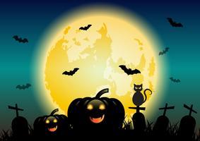 Halloween-Nachthintergrund mit glühendem Mond und Kürbisen
