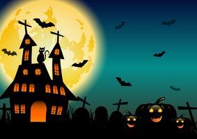 Spöklikt Halloween spökat hus med glödande måne nära kyrkogården