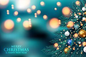 Weihnachtsbaumaste auf einem dunklen Nacht-bokeh Hintergrund