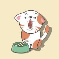 Süße Katze mit Fischgräte vektor