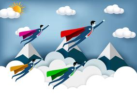 Superheldgeschäftsmänner, die mit Bergen im Hintergrund fliegen
