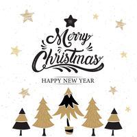 Frohe Weihnachten, guten Rutsch ins Neue Jahr-Logo mit Bäumen vektor