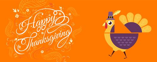 Happy Thanksgiving Typografie mit der Türkei, Zeichentrickfigur. vektor