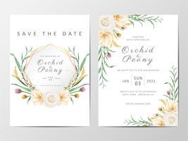 Romantisk blommig bröllopinbjudankortuppsättning vektor