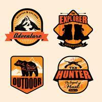 Logo mit Vintage Outdoor-Thema festgelegt vektor