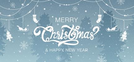 God jul, lyckligt nytt år kalligrafi med ornament och träd vektor