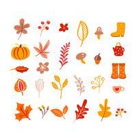 Herbst Elemente. Pilz, Eichel, Ahornblätter und Kürbis lokalisiert auf weißem Hintergrund