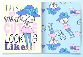 Sanfte schüchterne Cat Wearing Hat in der Hand gezeichnete Pastelle