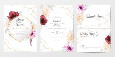 Mall för bröllopinbjudankortuppsättning med akvarellblommor vektor