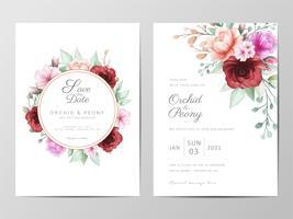 Bröllopsinbjudan med akvarell blommor vektor