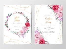 Modern blommig bröllopinbjudanuppsättning vektor
