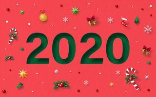 Gott nytt år 2020 med juldekoration vektor