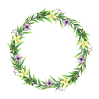 Aquarellartblumen- und -blattrahmen vektor