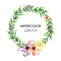 bunte Blumenrahmen und Aquarellartblätter vektor