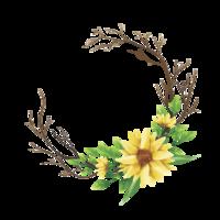 gelbe Blumensträuße und Aquarellartblätter vektor