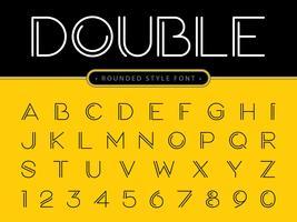 Dubbel effekt alfabetet bokstäver och siffror vektor