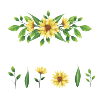 gul blommor krans och blad stil akvarell