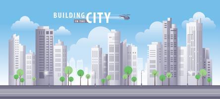 Byggnad i stadens blå himmel vektor