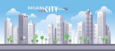 Byggnad i stadens blå himmel