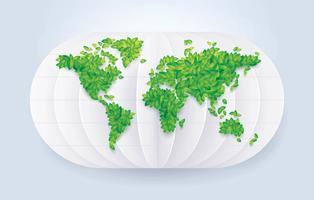 Rette die Weltkarte der Green Leafs vektor