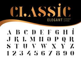 Klassiska eleganta alfabetbokstäver och siffror