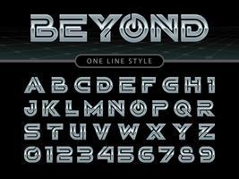stiliserat rundat teckensnitt och alfabet