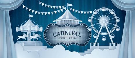 Premium gardiner scen med cirkus ram vektor