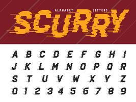 Glitch Modern Alphabet Buchstaben und Zahlen