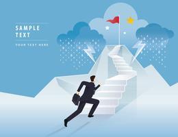 Affärsman som kör upp trappan till den röda flaggan på berget