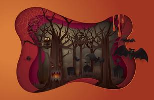 Fröhliche Halloween-Party-Szene vektor