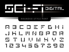 Digitala futuristiska alfabetbokstäver och siffror