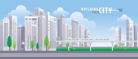 Vit byggnad i staden vektor