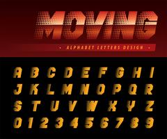Flytta effekt alfabetet bokstäver och siffror