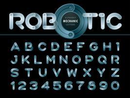 Moderna robot- och mekaniska alfabetbokstäver och siffror