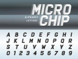 Futuristisches Alphabet Buchstaben und Zahlen