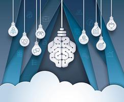 Glühlampe-Gehirn mit Geschäftsikonen auf abstraktem Hintergrund