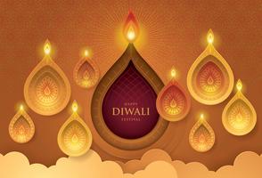 Glad Diwali festival med Diwali oljelampa