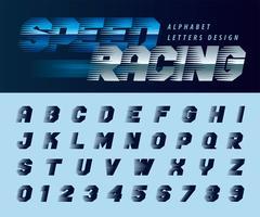 Speed Racing Effect Alphabet Buchstaben und Zahlen